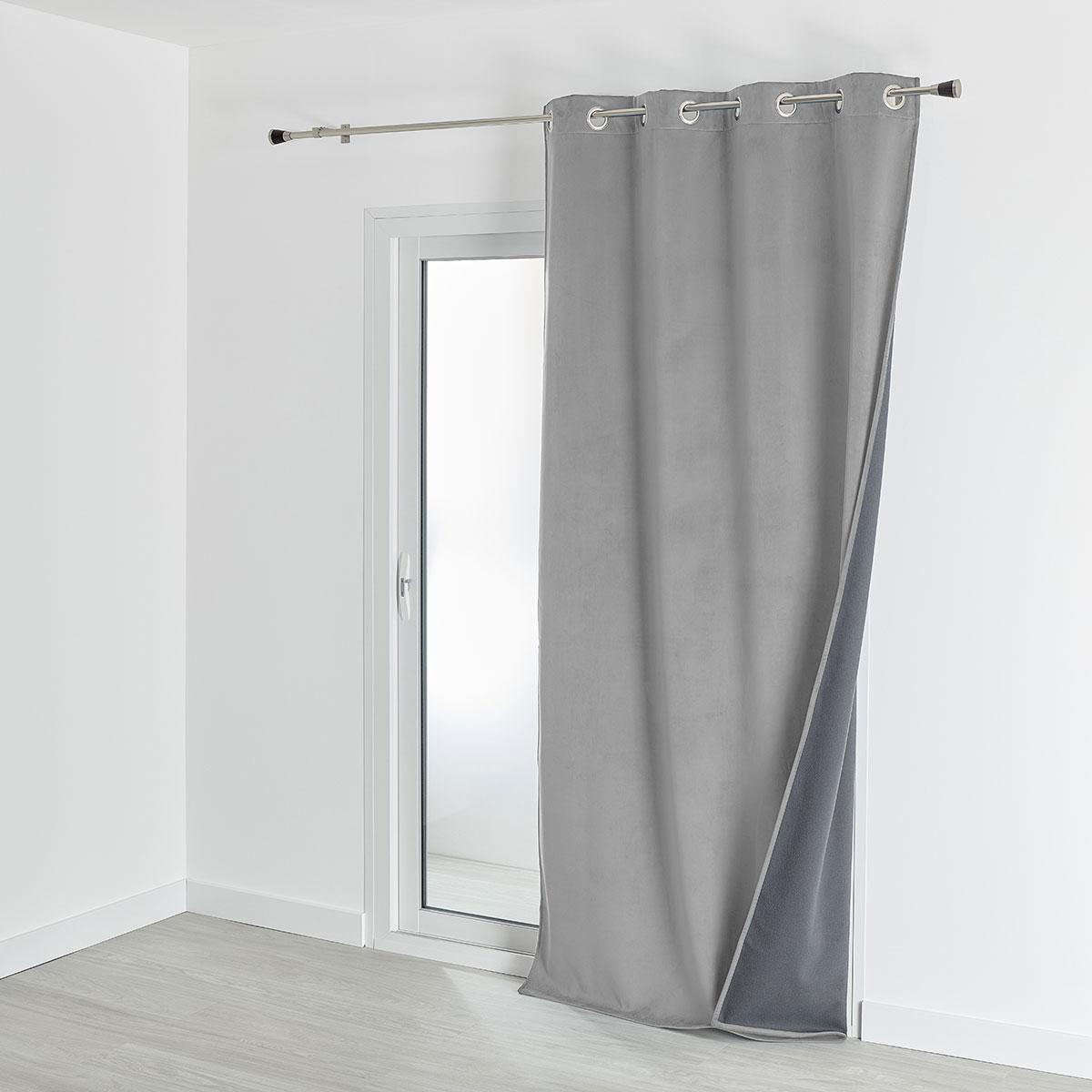 Rideau isolant et occultant en velours doublé polaire - Gris Perle - 135 x 280 cm