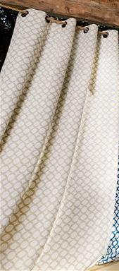 Rideau maille géométrique en lin avec oeillets  (Beige)