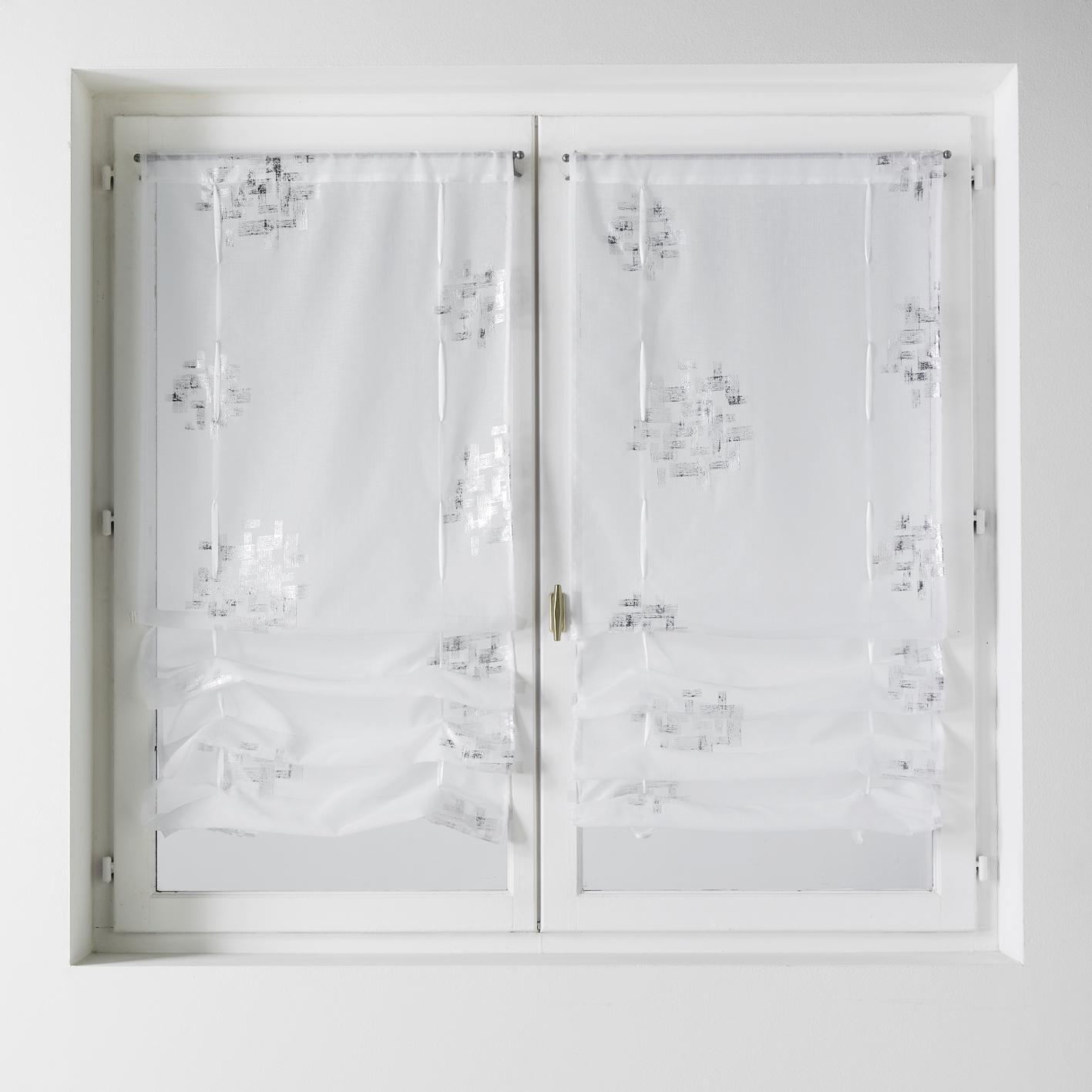 Paire de vitrage à remonter en étamine imprimée (Blanc)