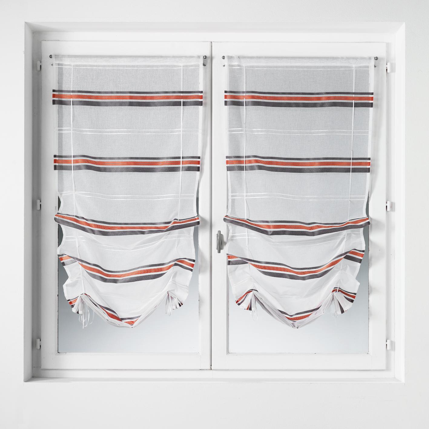 Paire de vitrage à remonter en étamine à rayures horizontales - gris/rouge - 060 x 160 cm