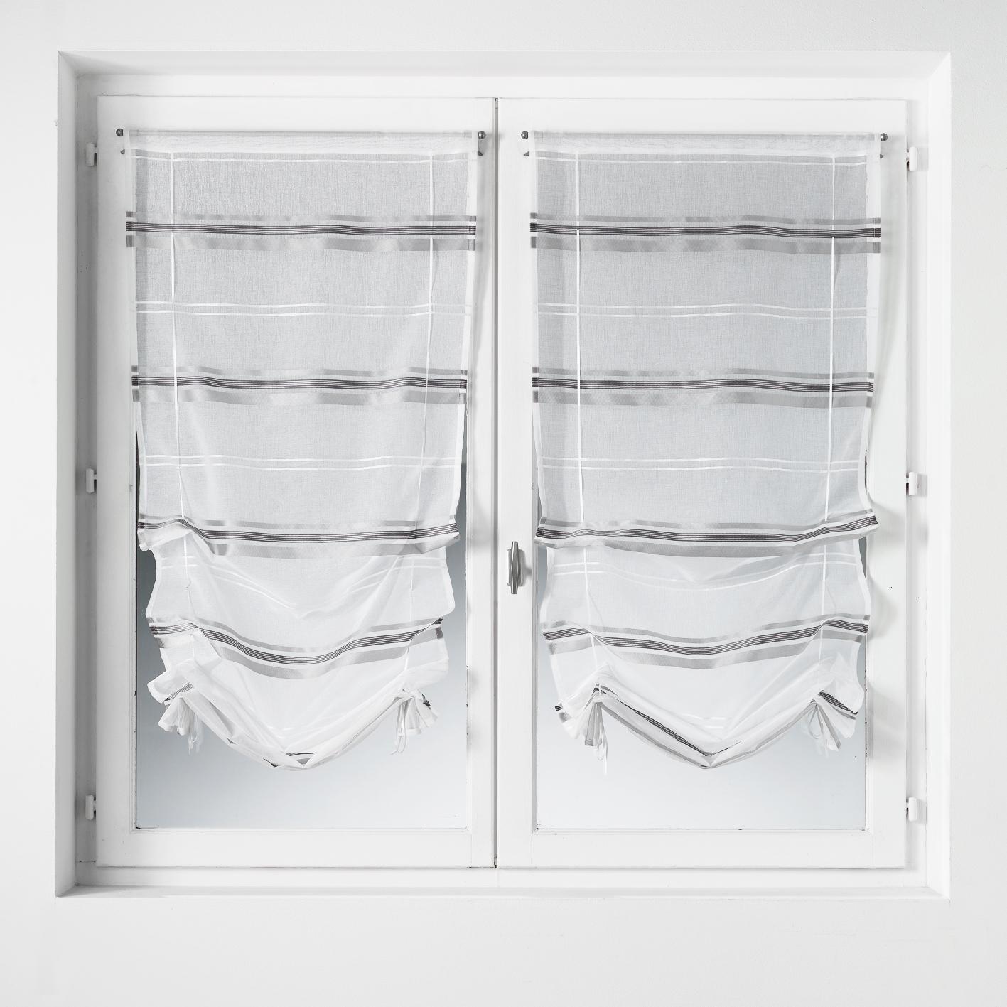 paire de vitrage remonter en tamine rayures. Black Bedroom Furniture Sets. Home Design Ideas