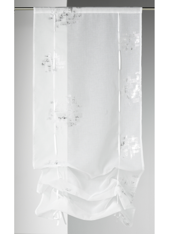 Vitrage à remonter en étamine imprimée (Blanc)
