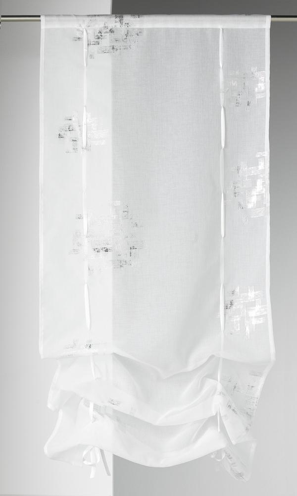 Visillo regulable estame a estampada blanco cortina for Cortina visillo blanco