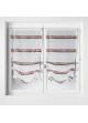 Paire de vitrage à remonter en étamine à rayures horizontales  gris/rouge