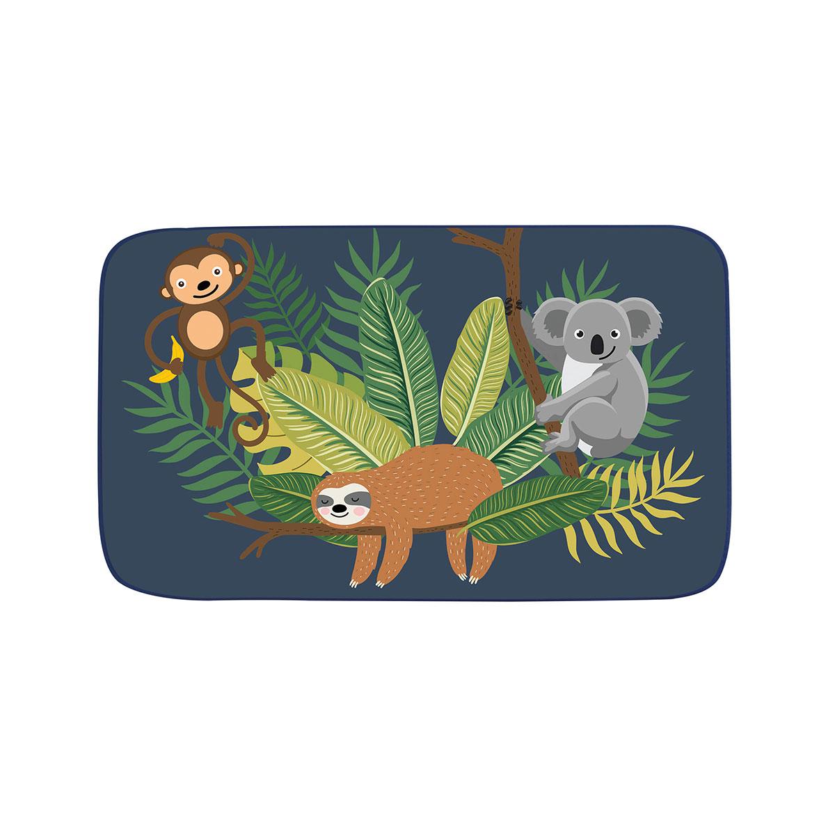 Tapis déco enfant en velours imprimé jungle (Marine)