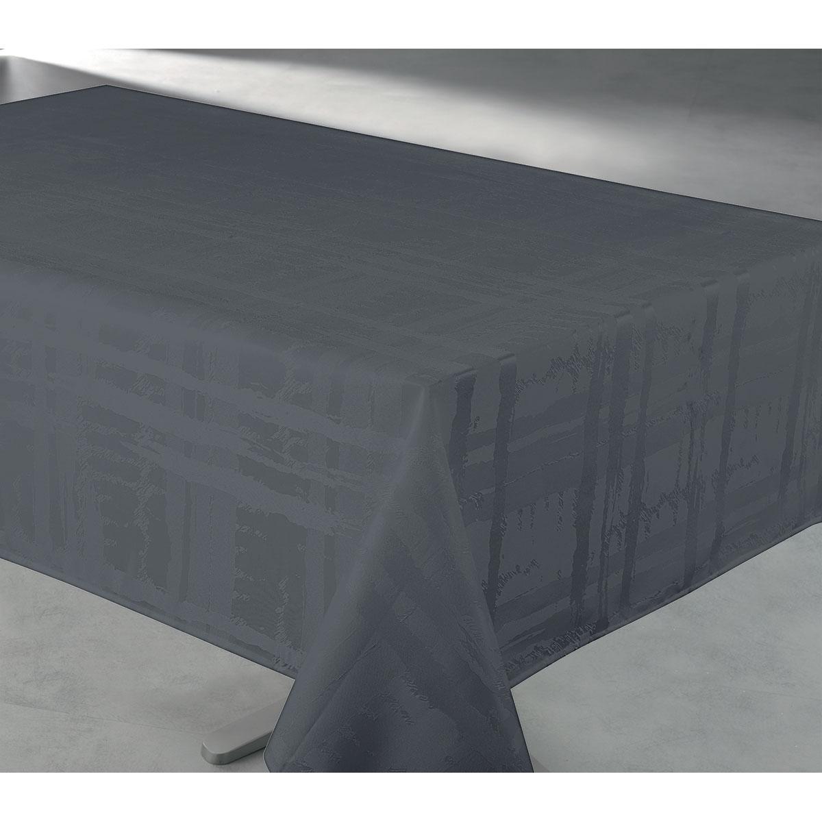 Nappe en tissu jacquard anti tache - Anthracite - 145 x 240 cm