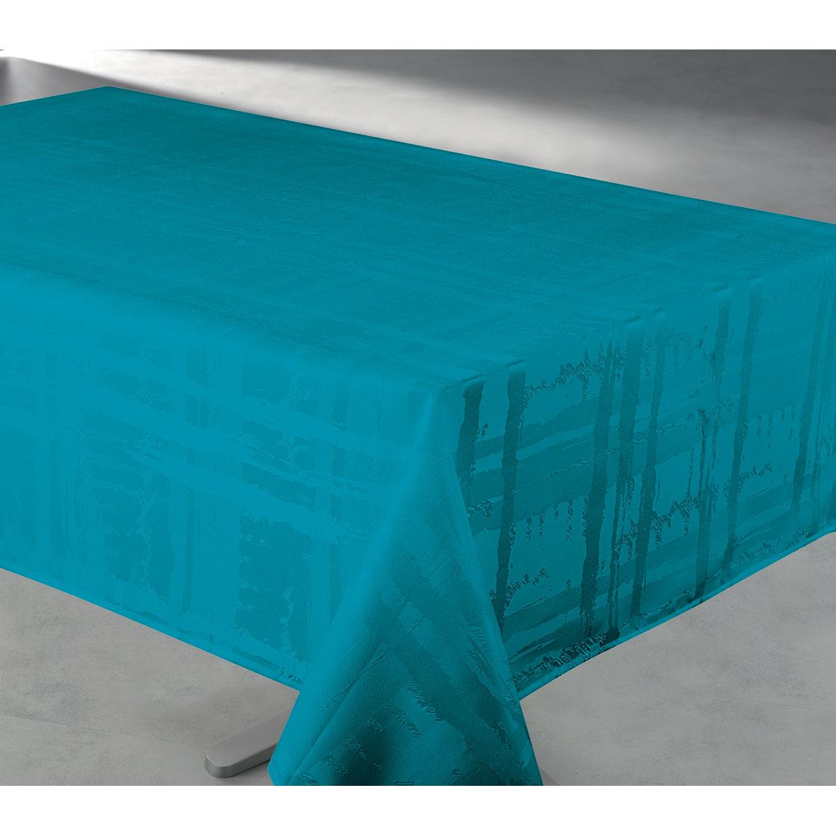 Nappe en tissu jacquard anti tache - Bleu Turquoise - 145 x 240 cm