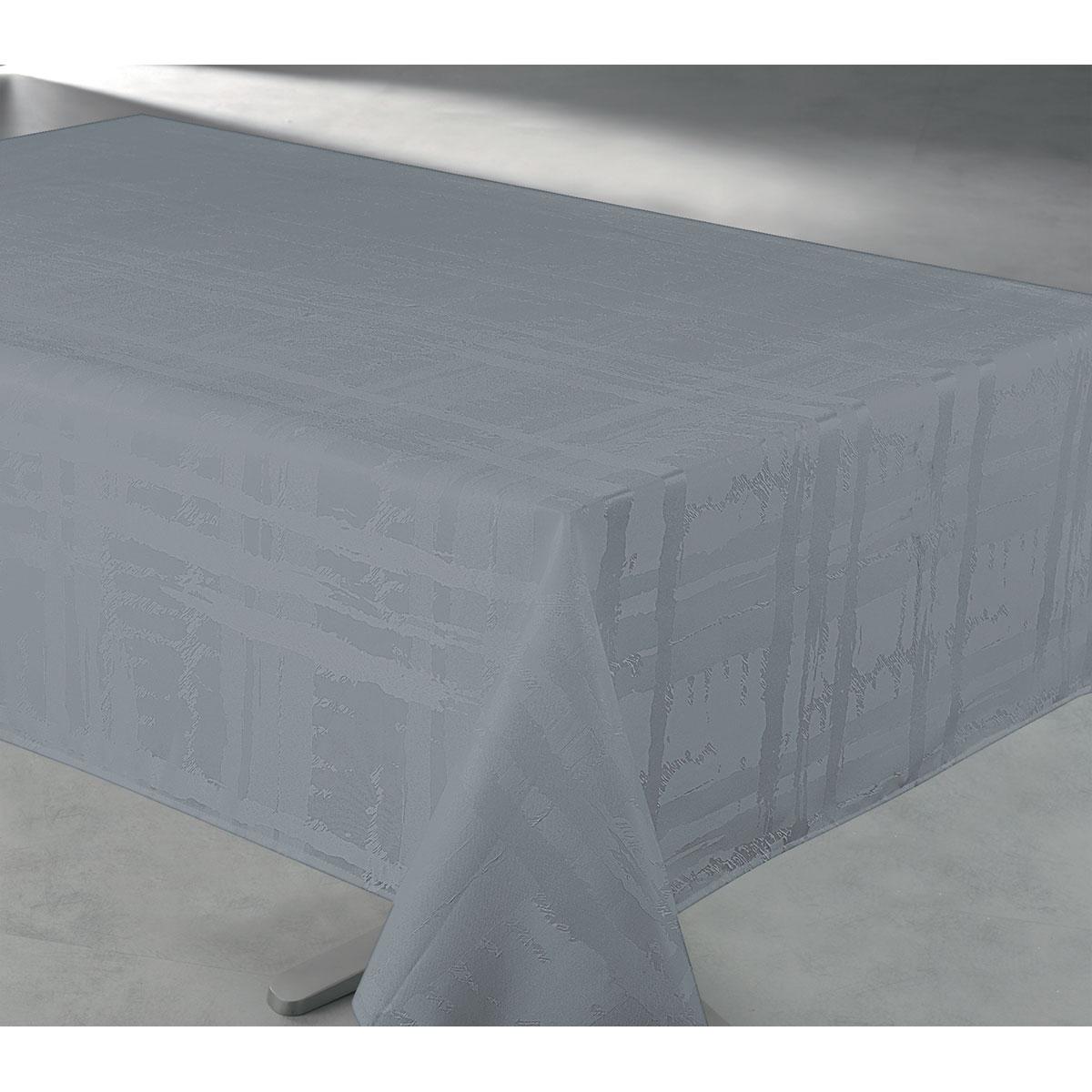 Nappe en tissu jacquard anti tache - Gris Perle - 145 x 240 cm