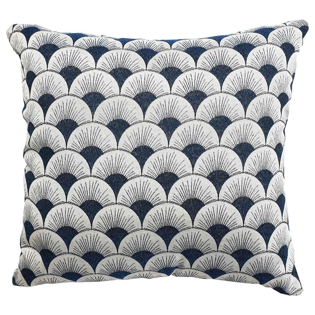 Coussin à motifs géométriques art déco - Bleu - 40 x 40 cm