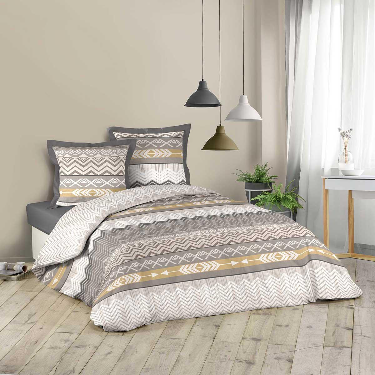 parure de couette imprim e ethnique dor multicolore. Black Bedroom Furniture Sets. Home Design Ideas
