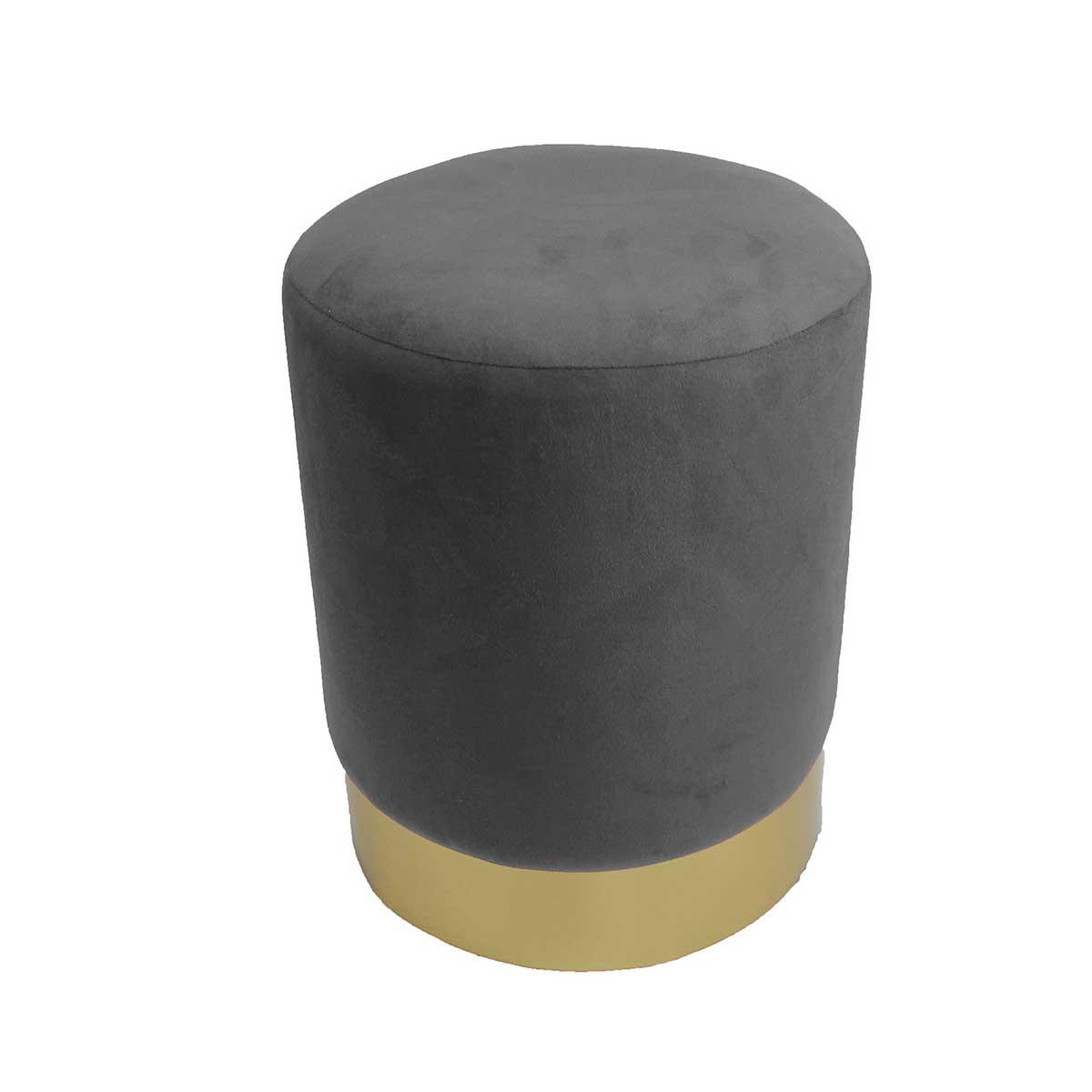 Tabouret en velours et métal doré (Anthracite)