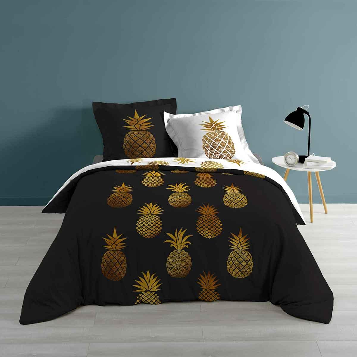 Parure de couette Ananas en noir & blanc - Noir / Blanc - 240 x 220 cm