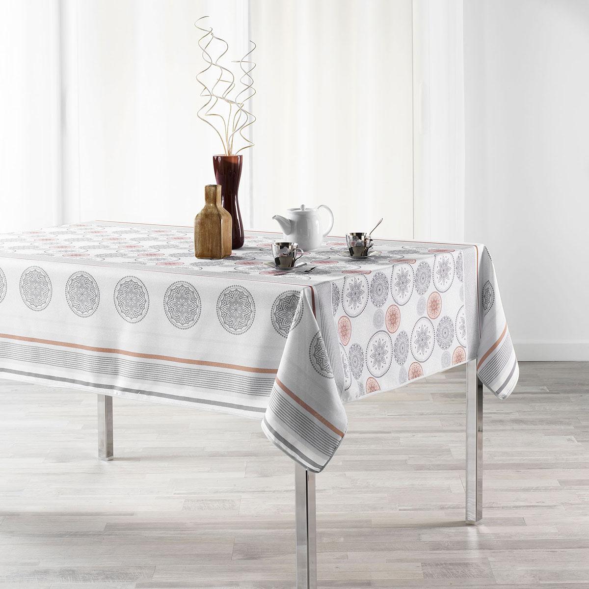 Nappe rectangulaire en polyester aux imprimés géométriques (Blanc)