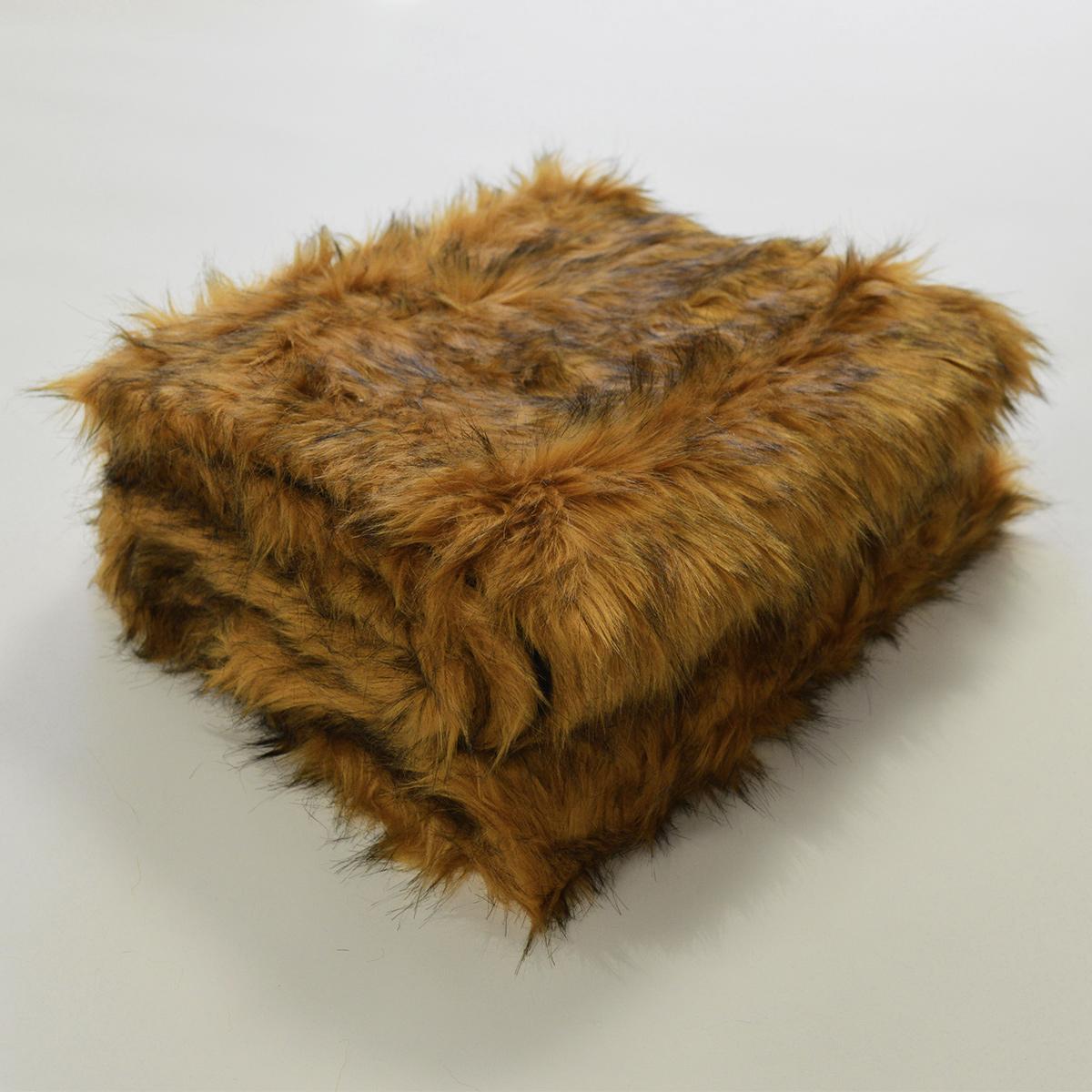 Plaid en fourrure à poils longs - Gold - 130 x 170 cm