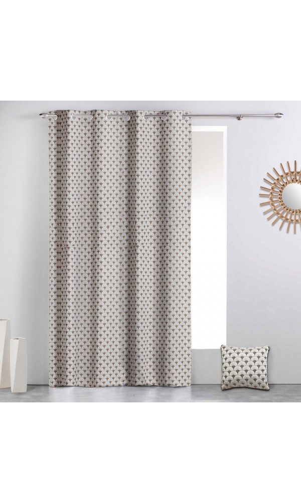Rideau à motifs géométriques art déco - Beige - 140 x 260 cm
