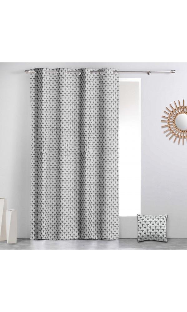 Rideau à motifs géométriques art déco - Gris - 140 x 260 cm