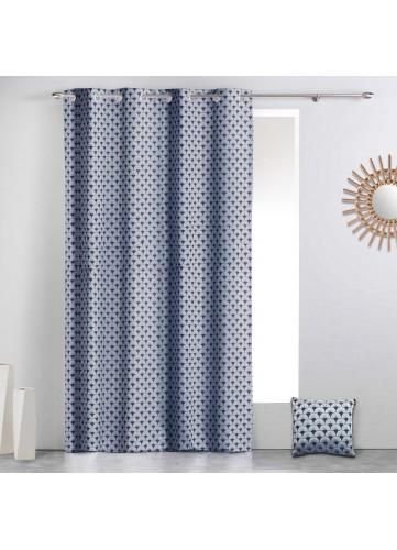 Rideau à motifs géométriques art déco - Bleu - 140 x 260 cm
