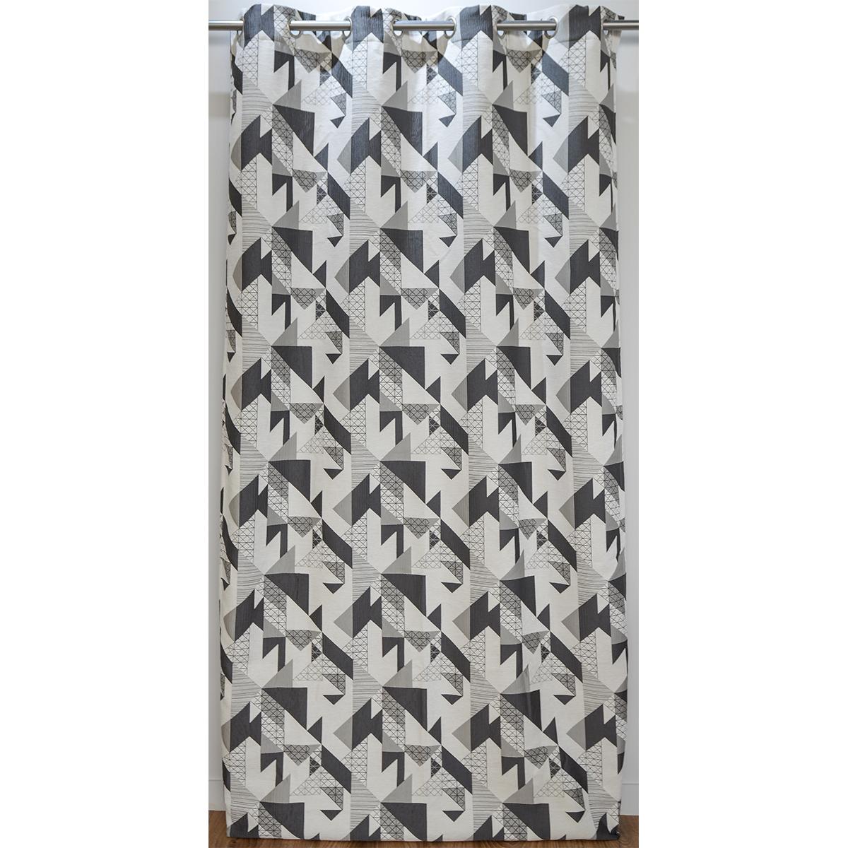 Rideau ameublement jacquard motif géométrique 140x260 cm (Gris)