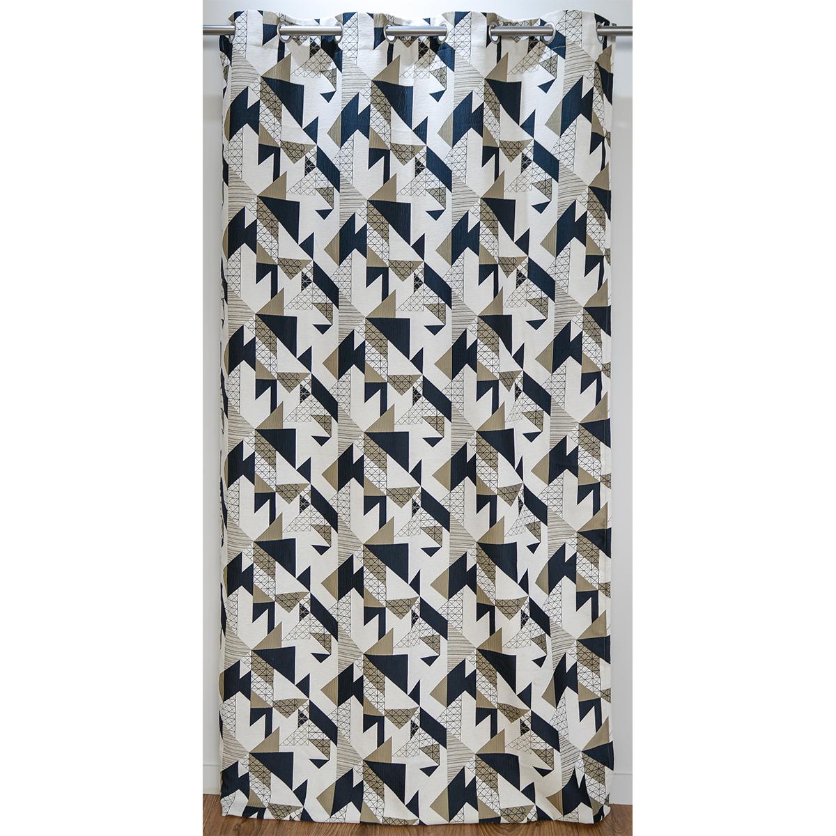 Rideau ameublement jacquard motif géométrique 140x260 cm (Lin)