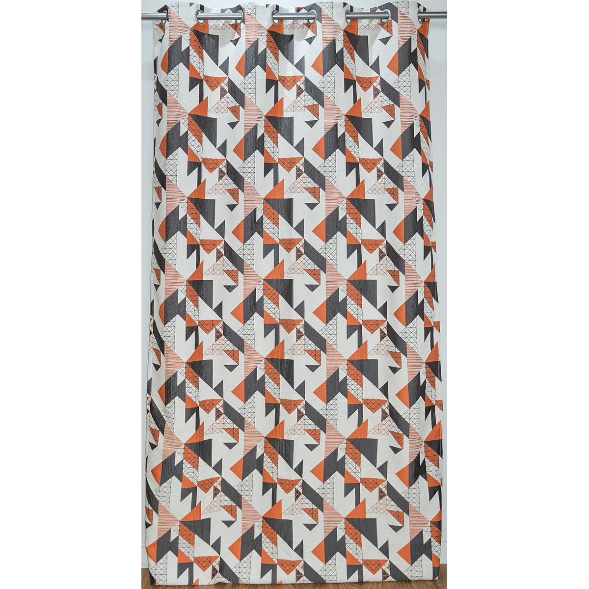 Rideau ameublement jacquard motif géométrique 140x260 cm (Mandarine)