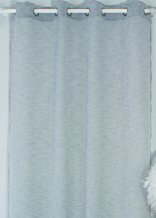 Voilage uni à effet lin - Gris - 140 x 240 cm