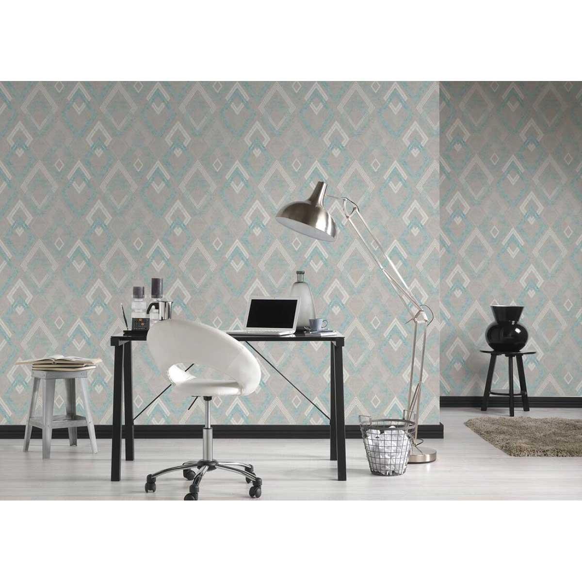 Papier peint à impressions géométriques grecques - Gris Bleu - 10 ml x 0,53 m