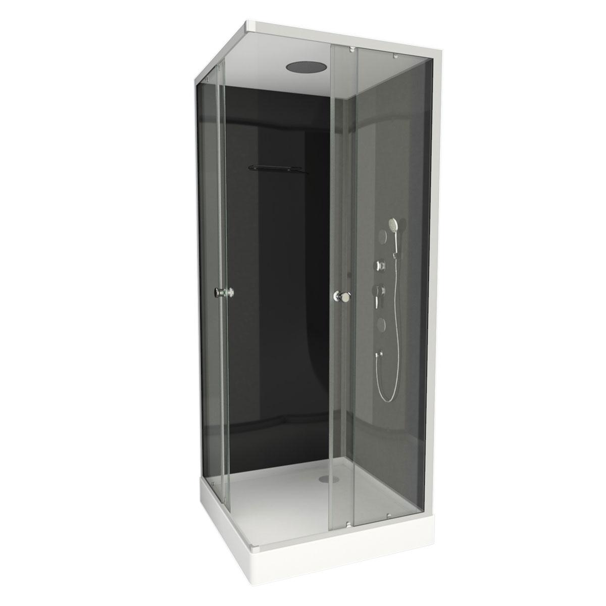 Cabine de douche en forme de carré (Noir)