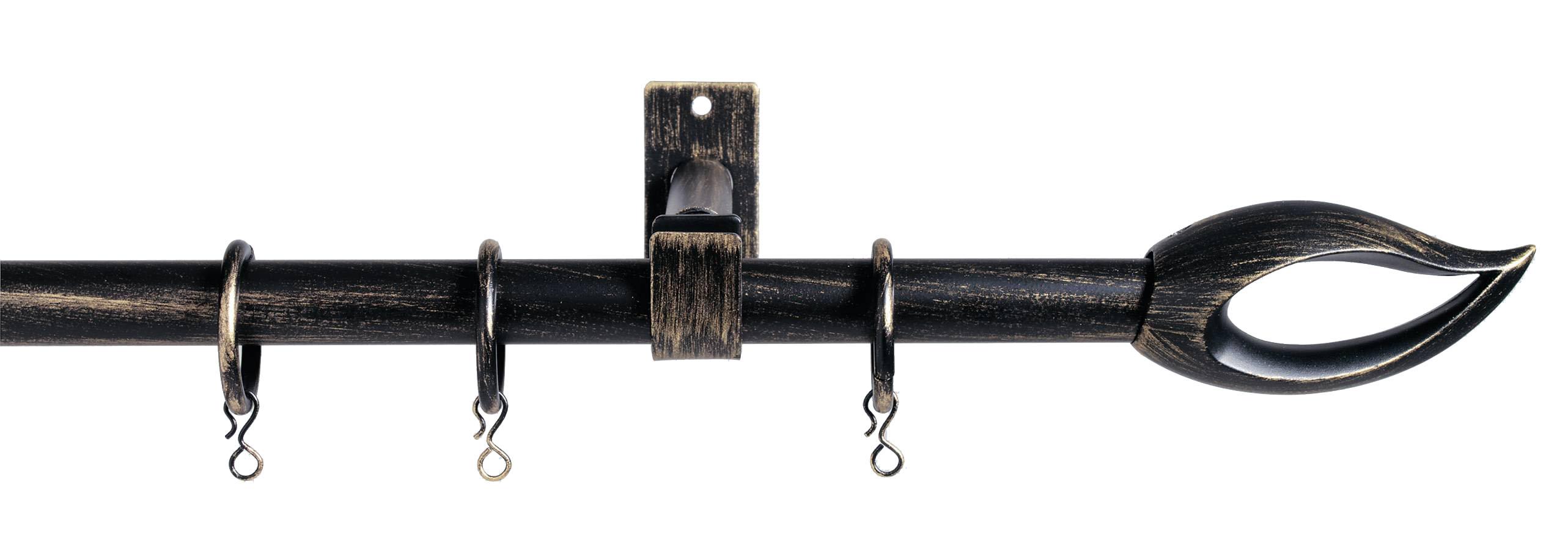 Kit tringle complet flammes ext 200-370 (Noir patiné or)