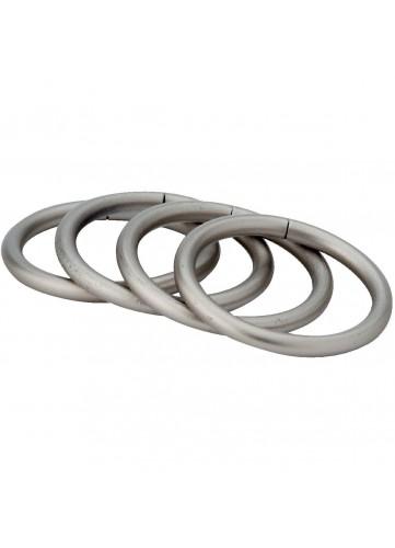 8 Anneaux chrome satiné pour barre à rideaux diamètre 28mm (Chrome Satiné)