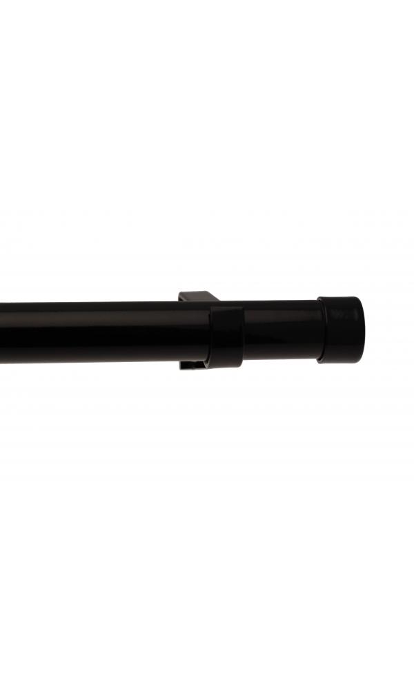 Kit tringle complet bouchon 160-300cm - Noir laqué - Ø25/28