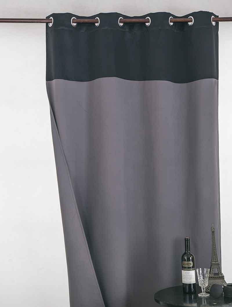 Rideau Occultant Bicolore - Noir / Gris - 140 x 260 cm