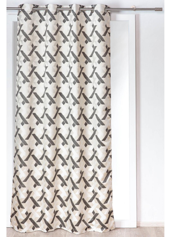 rideau avec motif croisements de lignes anthracite homemaison vente en ligne rideaux. Black Bedroom Furniture Sets. Home Design Ideas