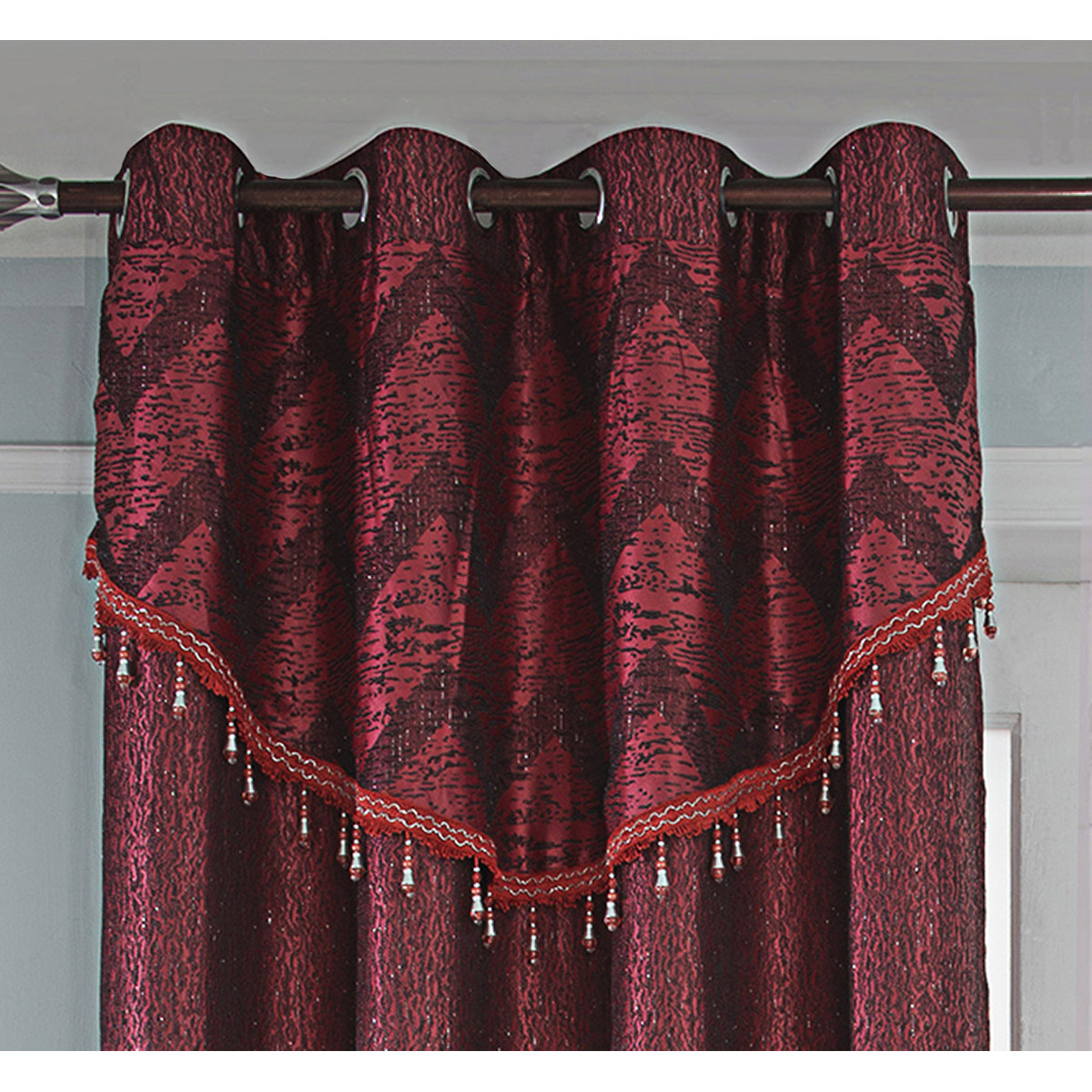 Paire de rideaux et voilages orientale (Rouge)