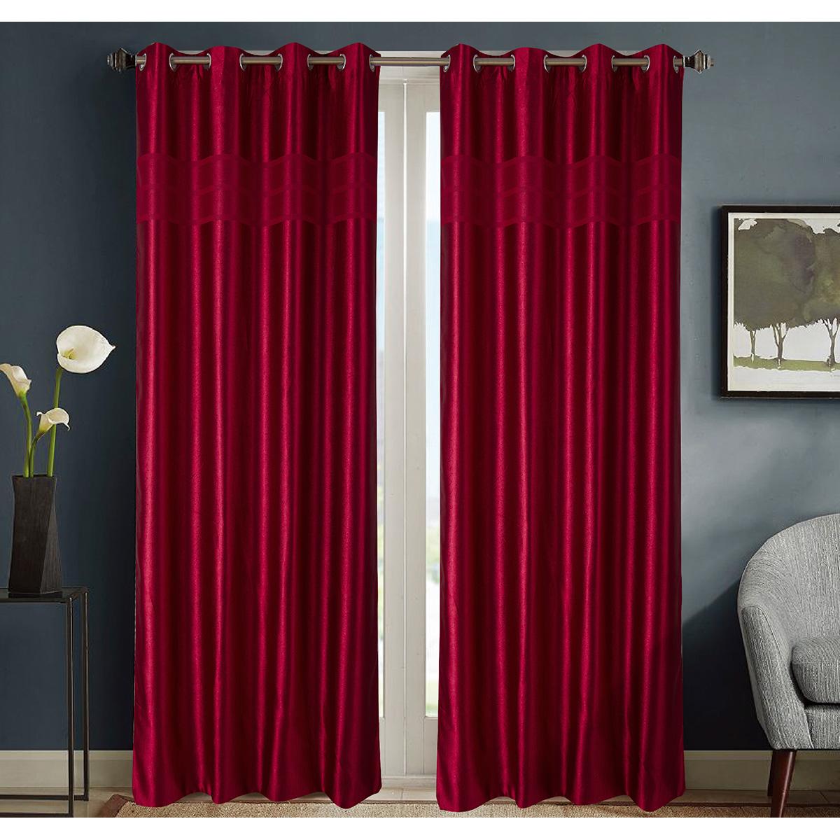 Paire de rideaux occultants style marbre - Rouge - 140 x 260 cm