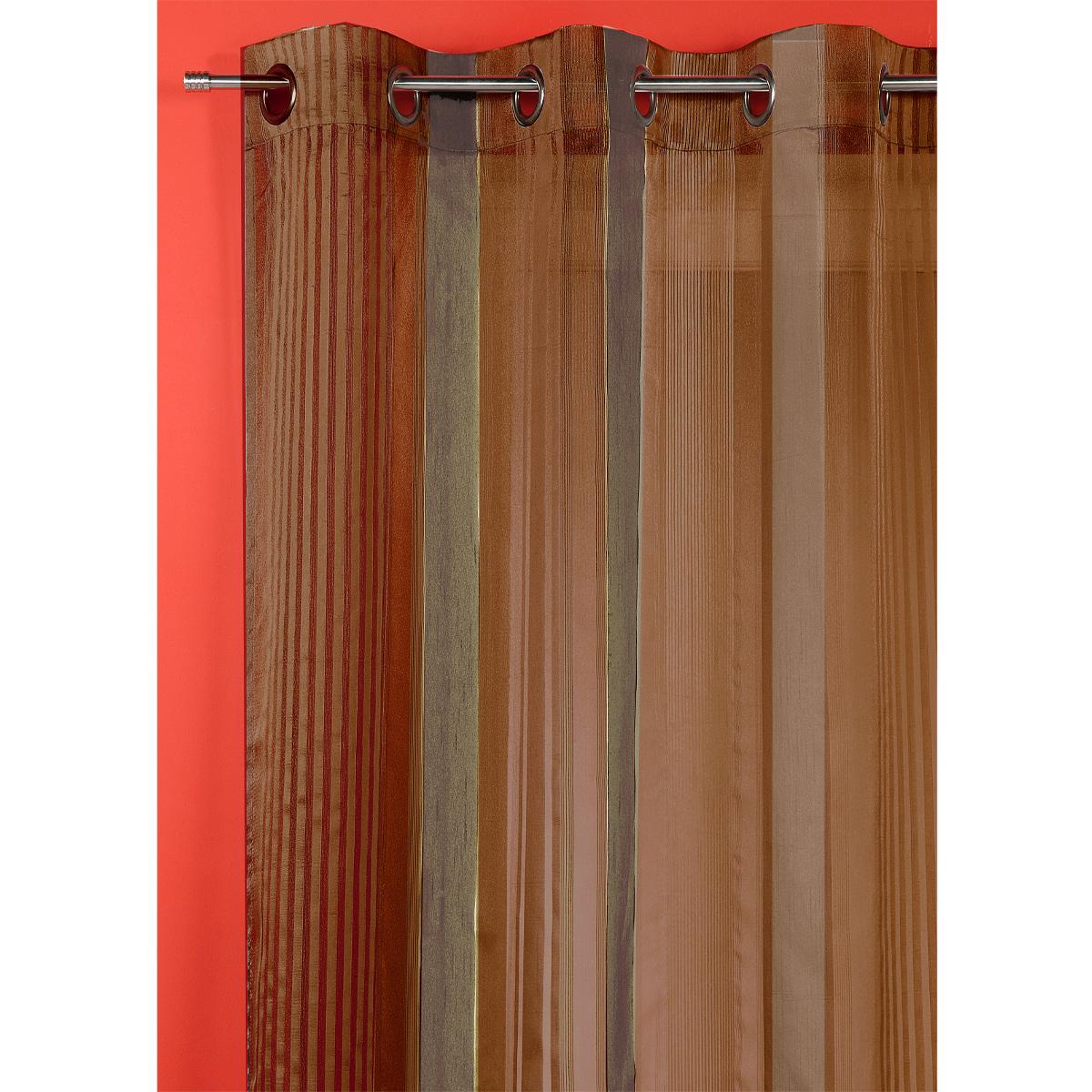 Voilage organza à rayures verticales (Chocolat)