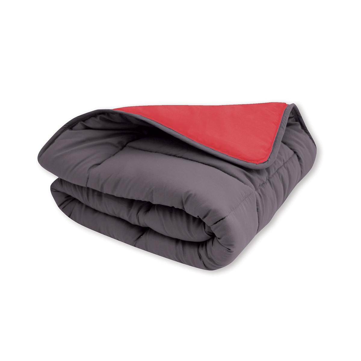 Couette réversible bicolore en microfibre 400 gr/m² - gris/rouge - 140 x 200 cm