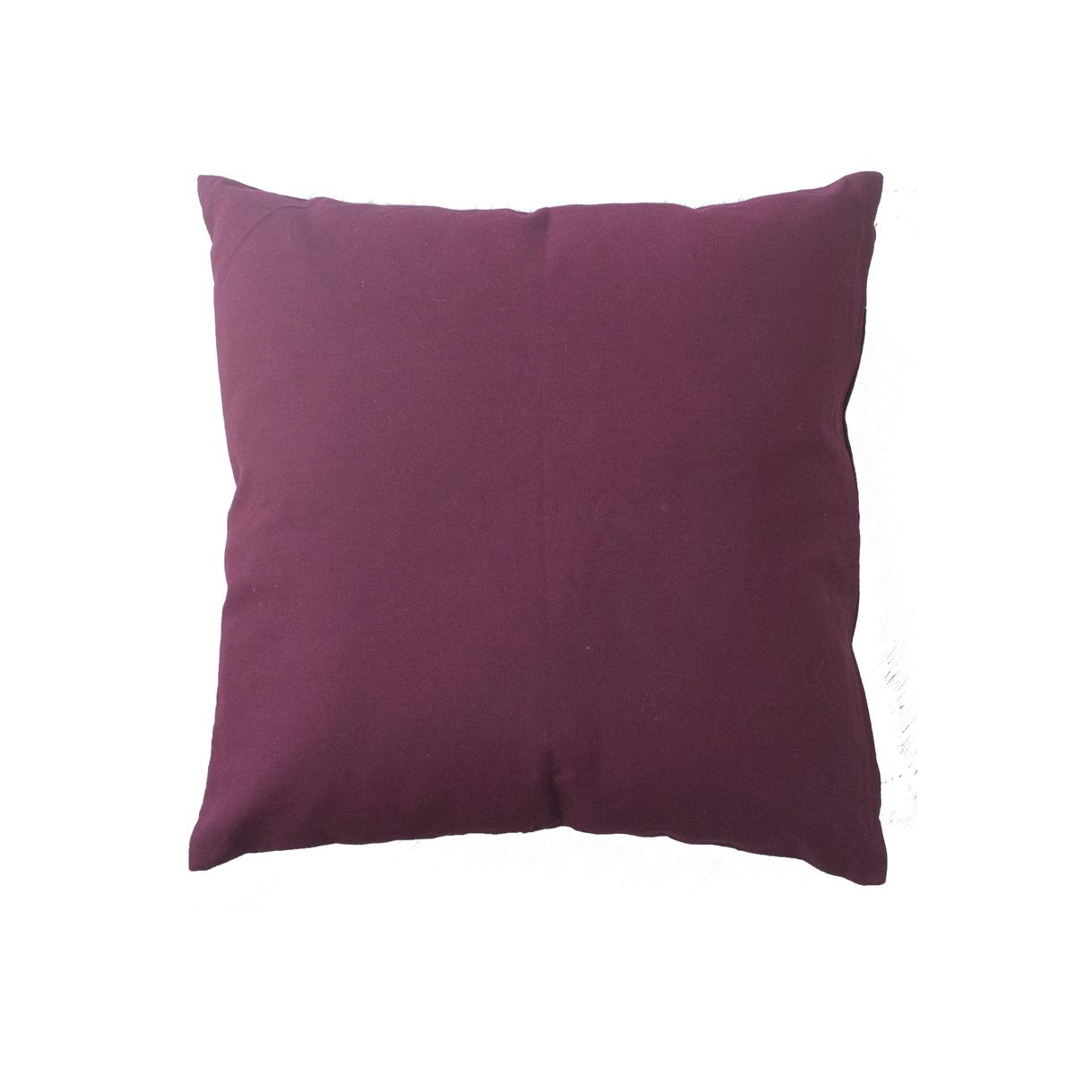 Coussin déhoussable uni en coton   (BOURGOGNE)