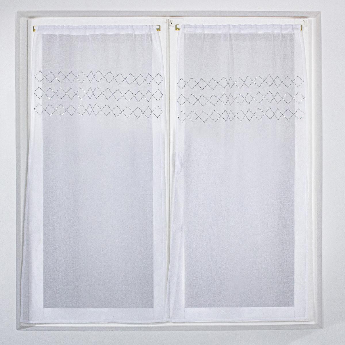 Paire de vitrages droits avec croisillons en strass (Blanc)