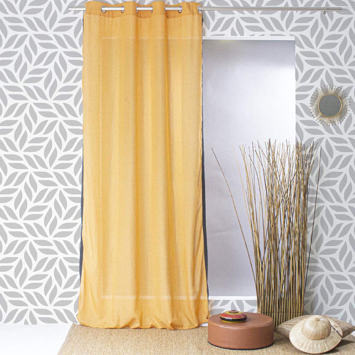 Voilage uni en poly coton et sergé côtés - Safran - 140 x 240 cm