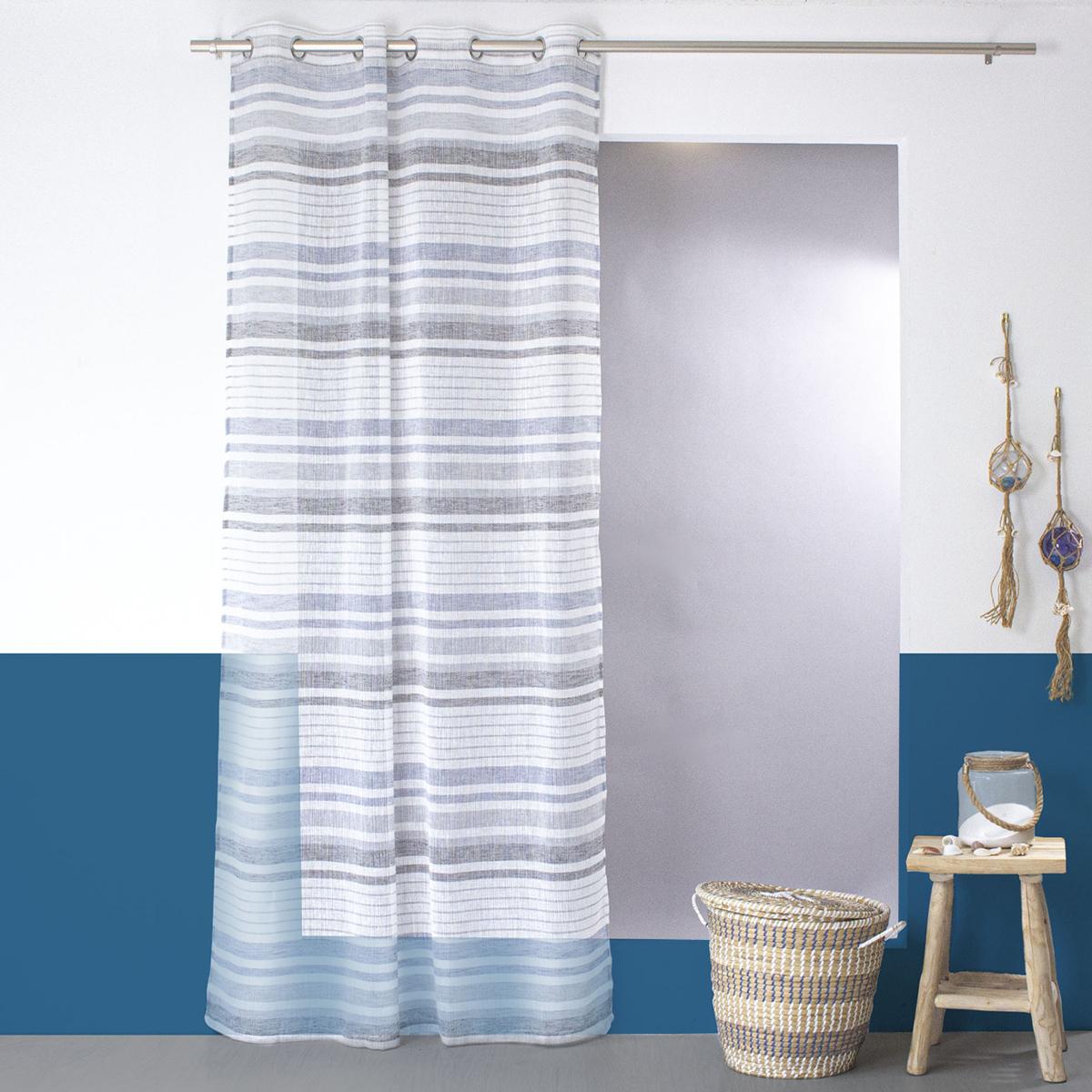 Voilage à effet lin et rayures horizontales (Blanc Bleu)