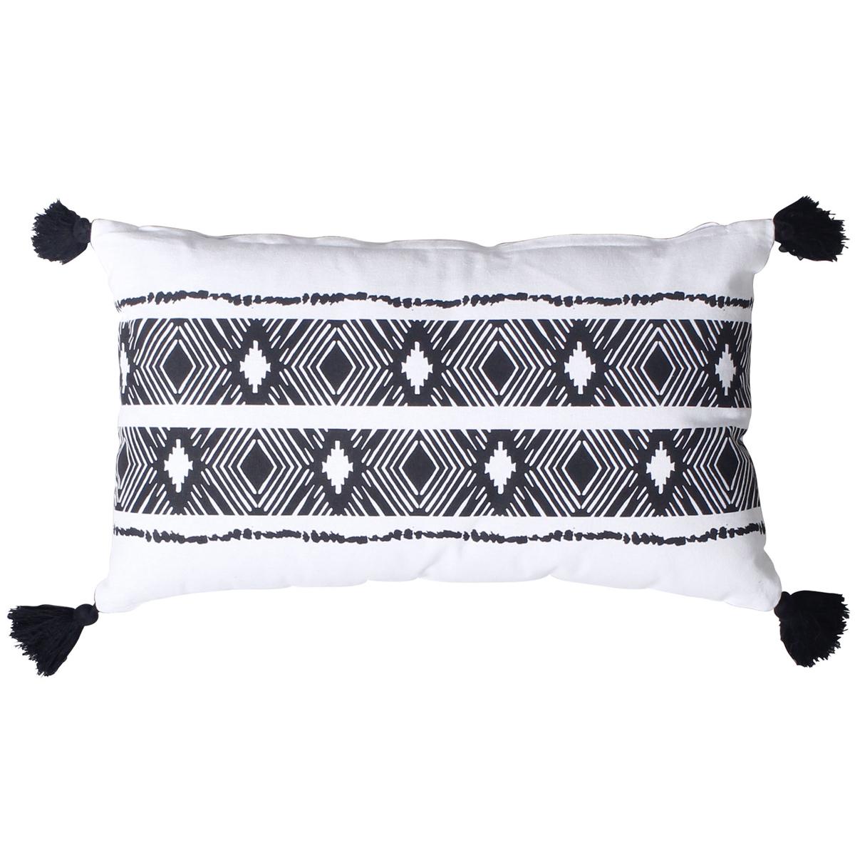 Coussin à pompons ethnique et bicolore (Noir)