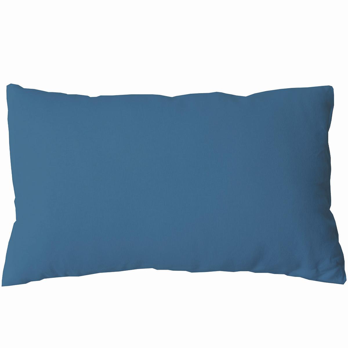 Coussin non déhoussable en coton uni  (Bleu sud)