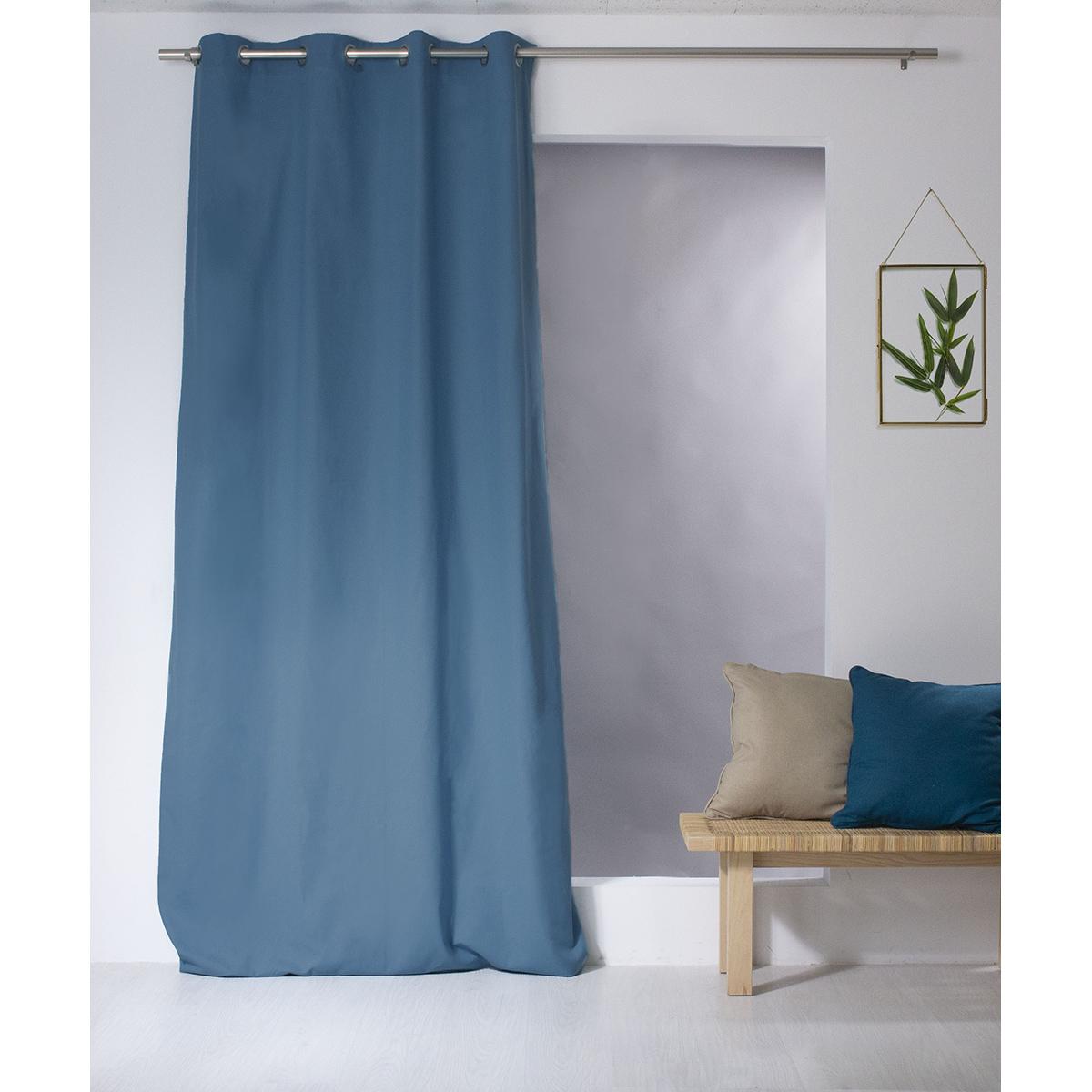 Rideau coloré en pur coton 8 œillets (Bleu sud)