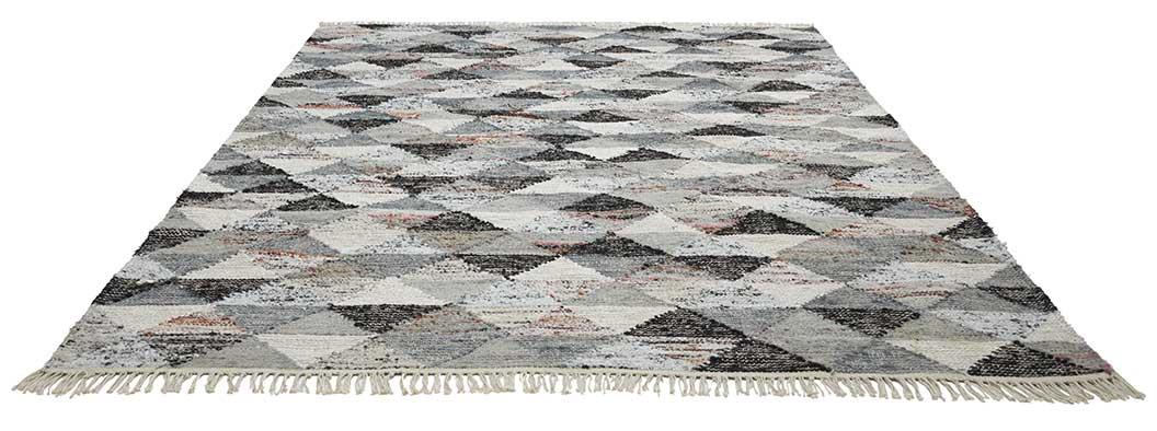 Tapis à Motifs Triangulaires - Gris - 170 x 230 cm