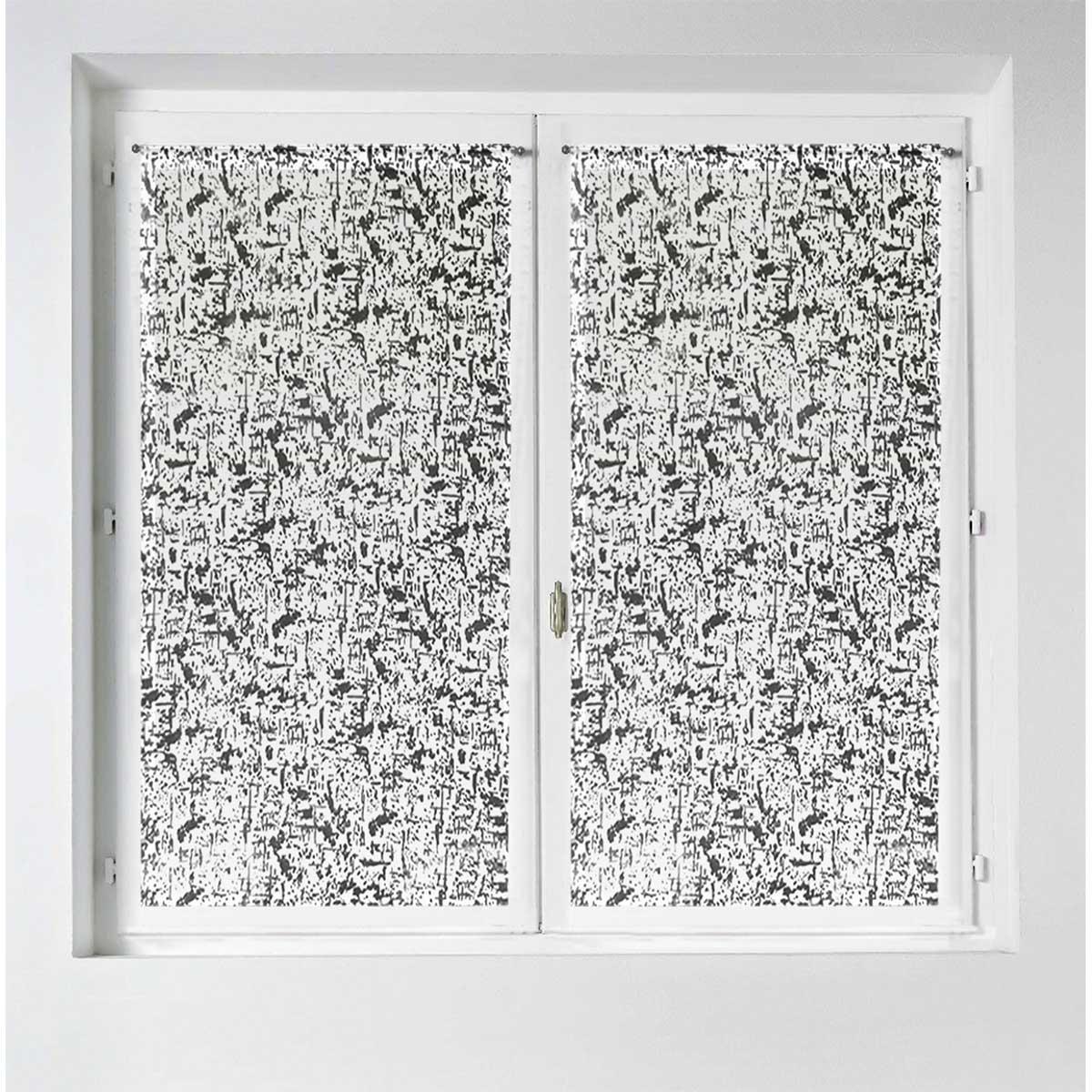 Paire de vitrages droits à impressions flockées - Noir - 60 x 120 cm