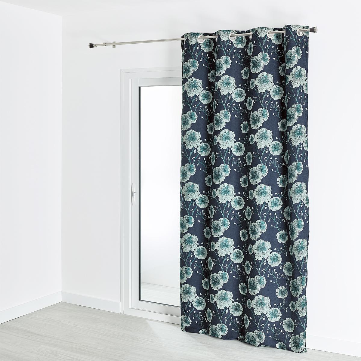 Rideau jacquard motif végétal grosses fleurs 140x260 cm (Bleu)