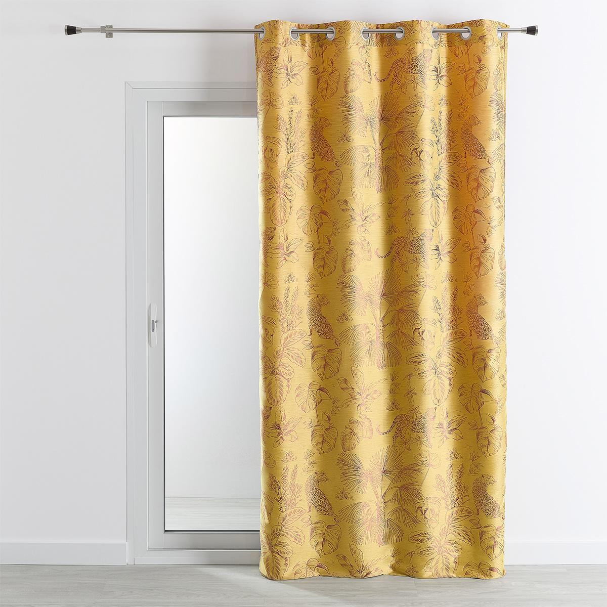 Rideau ameublement jacquard motif Jungle 140x260 cm (Jaune)