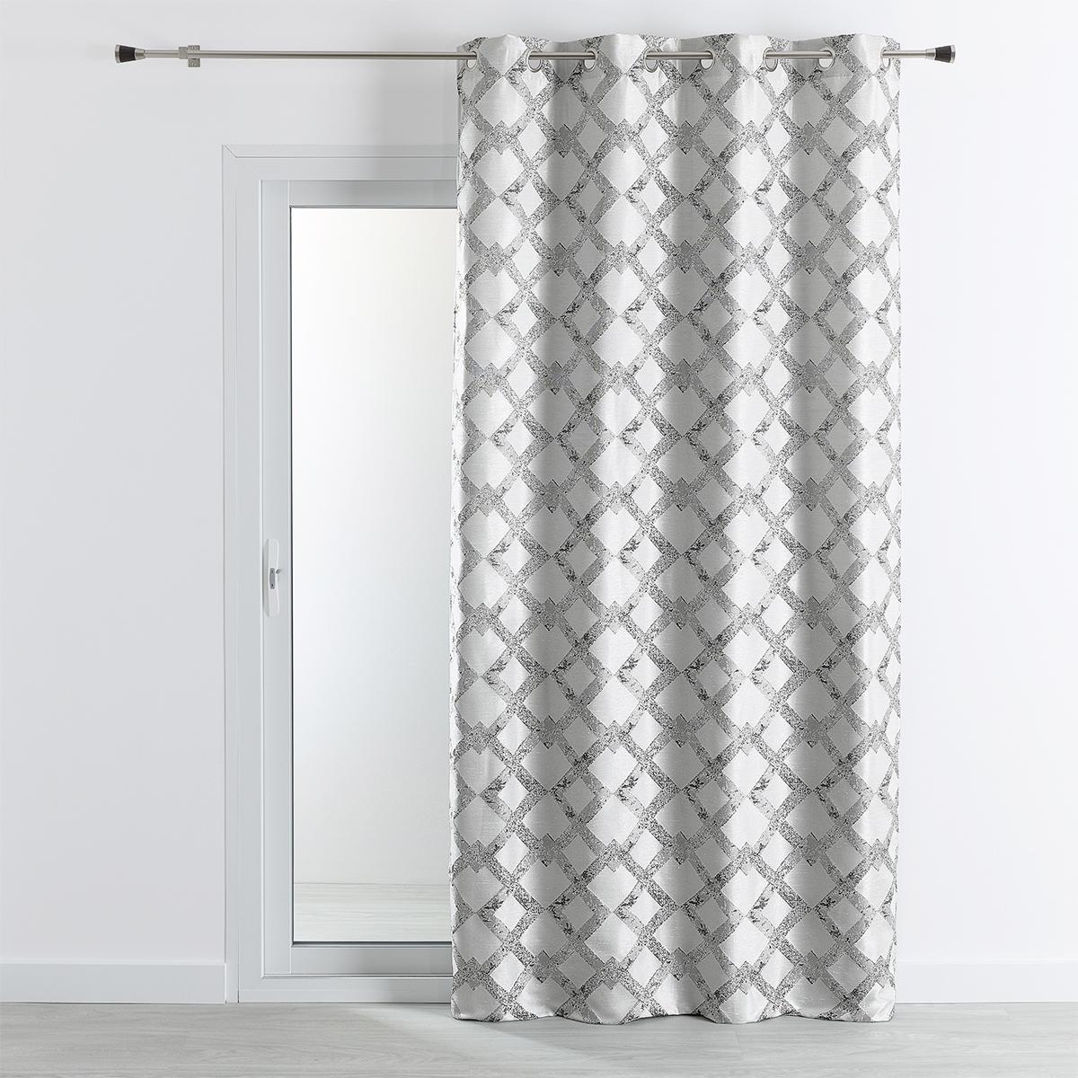 Rideau tissu jacquard avec motif croisillons 140x260 cm (Gris)