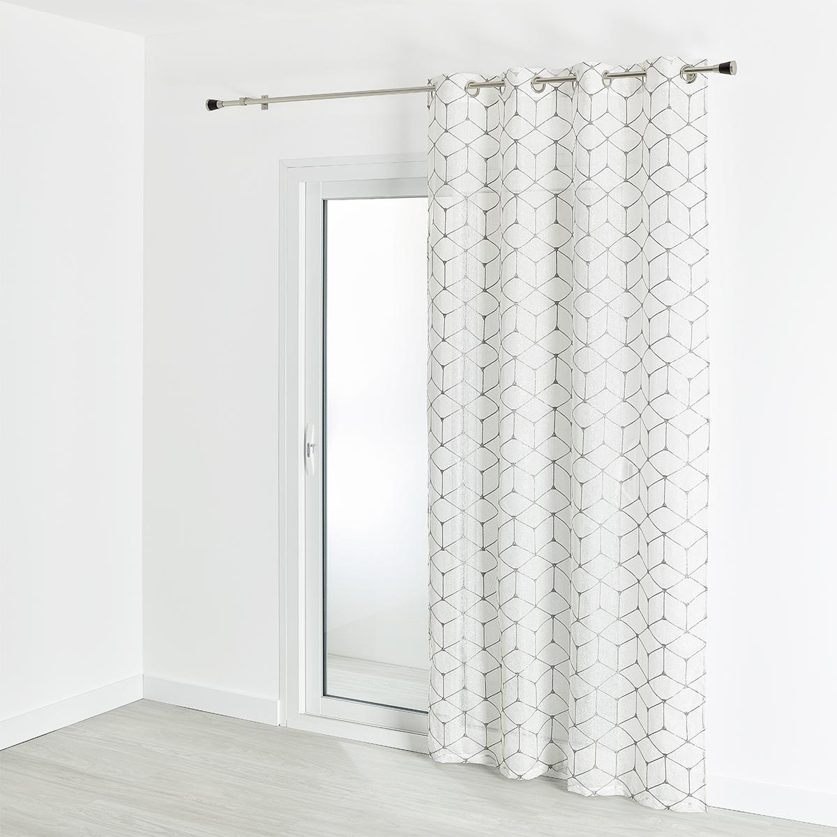 Voilage étamine imprimé et brodé motif contemporain 140x240 cm (Argent)