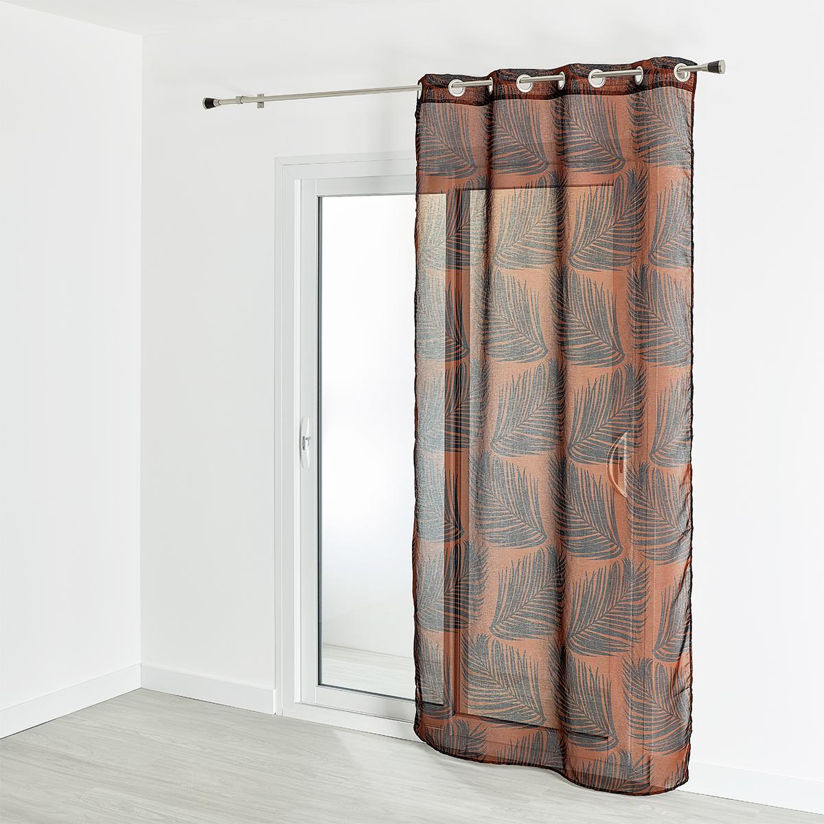Voilage étamine imprimé motif végétal 130x240 cm (Terracotta)
